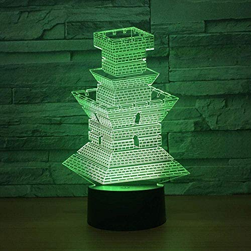 LSDAMN 3D Illusion Lamp 7 Colour Changing Acrylic LED Night Light with Building Model Art Sculpture Lights Room Home Decoration USB Charger Birthday Holiday Xmas for Baby