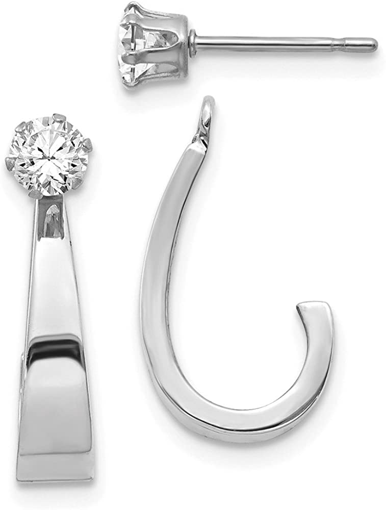 14k White Gold J Hoop Cubic Zirconia Cz Post Stud Earrings Jacket Fine Jewelry For Women Gifts For Her
