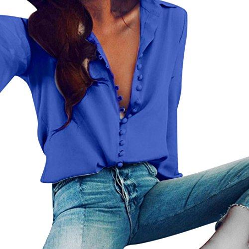 SUCES Damen Langarmshirt Lang Sleeve Hemd Einfarbig Bluse Tuniken V-Ausschnitt Knöpfe Oberteile Freizeit Business Tops Mode Sweatshirt Frauen Slim Fit Schöne Chiffonbluse (L, Blue)