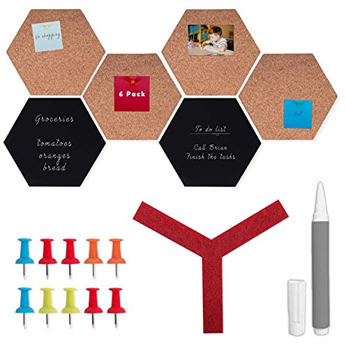 Hexagon Cork Board and Blackboard Tiles - 6 Pack and 10 Pins, Decorative Self Adhesive Cork Boards for Walls, Bulletin Board Decorations for Notes, Quick Message, to-Do Lists, Business Cards