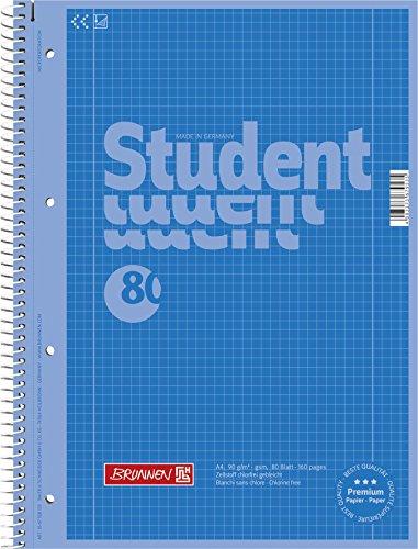 Brunnen 1067928133 Notizblock / Collegeblock Student Colour Code (A4 kariert, Lineatur 28, 90 g/m², 80 Blatt) blau