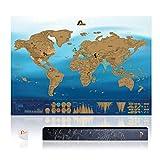 Amazy Mapa Mundi Rascar XXL (Azul   82 x 59 cm) – Mapa Mundi Pared Grande –aprende países y Cultura – Mapa del Mundo Ideal para el hogar.