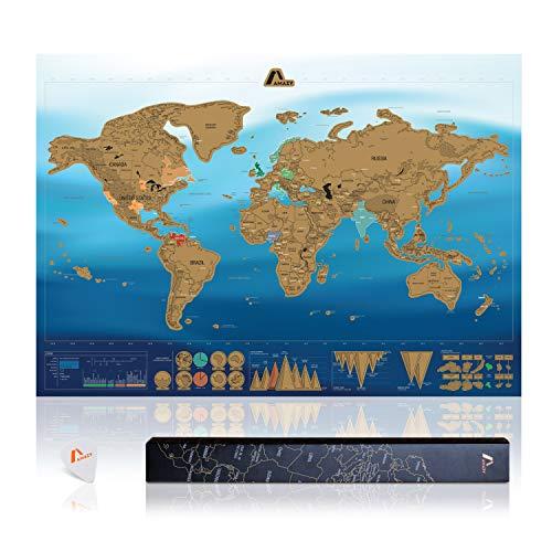 Amazy Weltkarte zum Rubbeln XXL inkl. Rubbelchip + Gratis-Packliste (PDF) – Große Rubbel-Landkarte als schöne Erinnerung an bisherige Reisen   Made in Germany (Blau   84 x 59 cm)