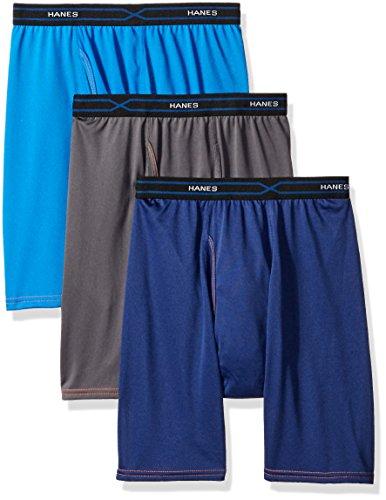 Hanes Men's 3-Pack X-Temp Performance Cool Long Leg Boxer Brief, Assorted, Medium