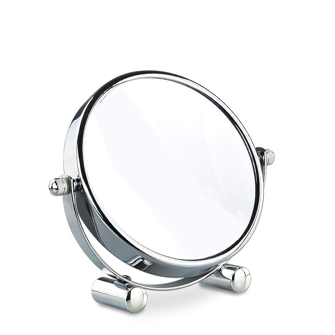 作曲家遺棄された包括的洗面化粧台ミラー 5インチ両面拡大鏡バスルームミラーミラー寝室用3-5-7-10倍拡大デスクトップ化粧品バスルームミラー360度回転回転スタンド付き 化粧鏡 (Edition : Reverse 10 times)