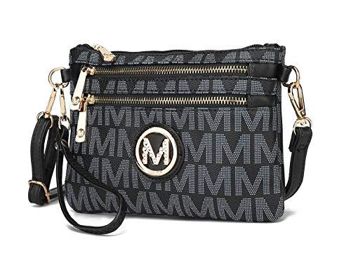 MKF 2 in 1 Crossbody Bags for Women, Wristlet Purse - Ladys Small PU Leather Messenger Handbag - Adjustable Strap Black