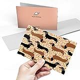 Tarjeta de felicitación (A5) – diseño de perro salchicha en blanco con patrón de flores en blanco tarjeta de felicitación de cumpleaños para niños y niñas #16334