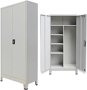 tiauant Armadio per mobili e armadi con cassetti, con 2 Ante in Acciaio, 90 x 40 x 180 cm, Colore: Grigio