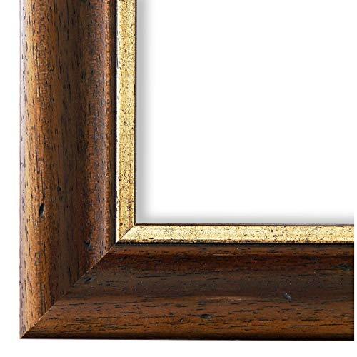Online Galerie Bingold Bilderrahmen Foggia Braun Gold 4,4 I DIN A3 (29,7 x 42,0 cm) mit Normalglas (WRF) inklusive Montagematerial I handgefertigte Holz Fotorahmen Posterrahmen Urkundenrahmen