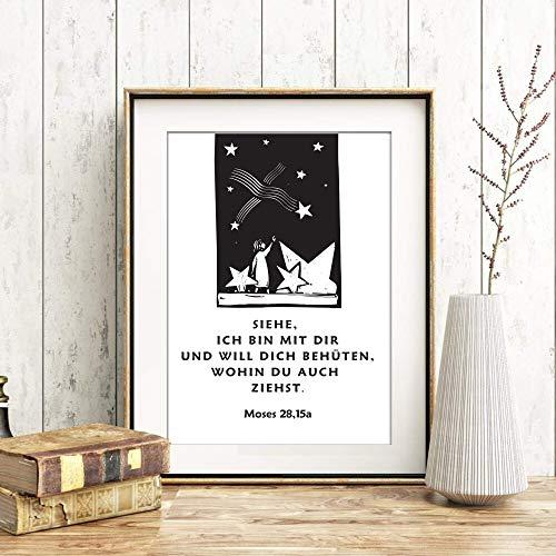 Din A4 Kunstdruck ungerahmt - Spruch Glaube Bibelvers - Siehe, ich bin mit Dir - Mose Bibel Religion Christlich Taufe Geburt Druck Poster Bild