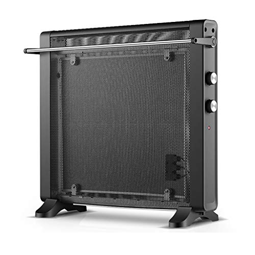 GY Mica Elektrische verwarmingstoestel, zonder olie, elektrische radiator, convector, 2 warmtestanden, 1200 W, 2200 W, kantoor thuis, thermostaat, zwart