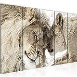 decoración de la pared Tabla África leones - 200 x 80 cm Vista de impresión en lienzo Salón Apartamento - listo para colgar - 002155b