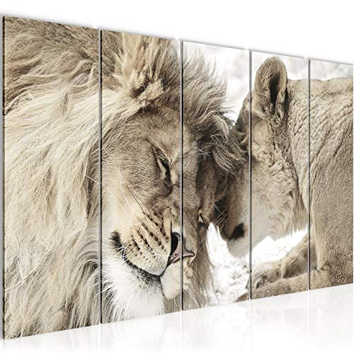 Bilder Löwen Afrika Wandbild 200 x 80 cm Vlies - Leinwand Bild XXL Format Wandbilder Wohnung Deko Kunstdrucke - MADE IN GERMANY - Fertig zum Aufhängen 002155b