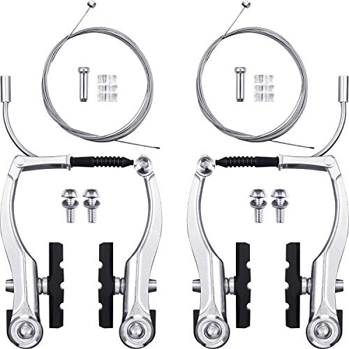 2 Pairs Bike Brakes Set Universal Bike Brakes Mountain Bike Replacement for Most Bicycle and 2 Pieces Mountain Bike Brake Cables Bike Gear Shift Cable Wire, End Caps, End Ferrules (Silver)