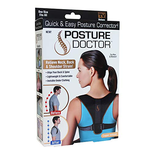 Posture Doctor, Relieve Neck and Shoulder Strain in Black, Align Your Back and Spine, As Seen on TV, One Size Fits All