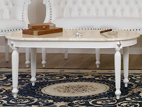 SIMONE GUARRACINO LUXURY DESIGN Mesa de Centro Isabelle Estilo Barroco Moderno Color Blanco Lacado...