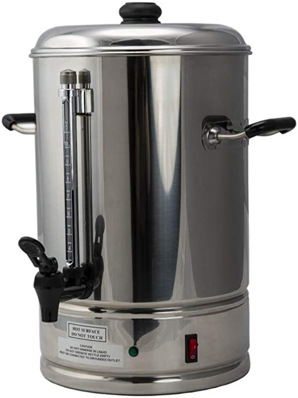 SYBO CP10 Commercial Grade Stainless Steel Percolate Coffee Maker Hot Water Urn For Catering 10 Liters Metallic