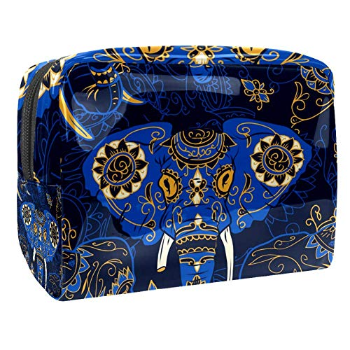 Maquillage Cosmetic Case Multifunction Travel Toiletry Storage Bag Organizer for Women - Ethnic Floral Elephant Blue