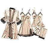 Lazzboy Dessous Frauen Silk Lace Babydoll Nachtwäsche Nachthemd Pyjamas Set Kimono Damen Morgenmantel Satin Bademantel Seide Roben V Ausschnitt Mit Blumenspitze(Beige,2XL)