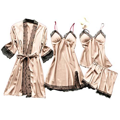 Lazzboy Dessous Frauen Silk Lace Babydoll Nachtwäsche Nachthemd Pyjamas Set Kimono Damen Morgenmantel Satin Bademantel Seide Roben V Ausschnitt Mit Blumenspitze(Beige,S)