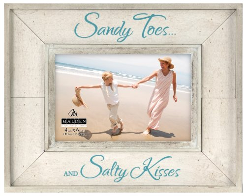 Malden International Designs Sun Washed Woods Vacation Memories Sandy Toes and Salty Kisses Sand Distressed Picture Frame, 4x6, Sand