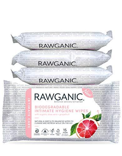 RAWGANIC Bio Intim-Hygienetücher | COSMOS zertifiziert | Hypoallergen, Alkoholfrei, Spülbar Und Biologisch Abbaubar | 100% Zellulose (15 Tücher pro Packung)