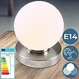 Tischlampe mit Dimmer Touchfunktion - EEK: A++ bis E, 1er oder 2er Set, E14, LED, mit Berührungssensor - Nachttischlampe, Nachttischleuchte - für Wohnzimmer, Schlafzimmer, Kinderzimmer (1er)