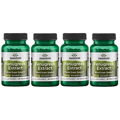 Swanson Fenugreek Extract - Featuring Testofen 300 mg 60 Veg Caps 4 Pack