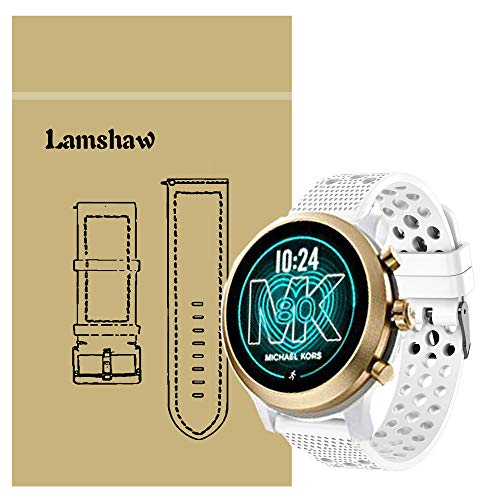 Compatible for Michael Kors MKGO Bands, Blueshaw Silicone Replacement Wristbands Sport Strap with Metal Buckle Compatible for Michael Kors Access MKGO Smartwatch (White)