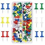 100 Pezzi Multicolori Map Puntine, Puntine Disegno con Testa in Plastica in Pratica Scatola, Push Pins Thumb Tacks per Mappa Lavagna Bacheca di Sughero Decorative (5 Colori)