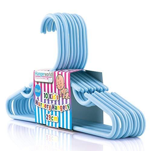 HANGERWORLD 10 Grucce Per Bambini 29Cm In Plastica Celeste Per Vestiti E Pantaloni Da Bambino E Neonato