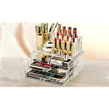 Ballino - Organizador de cosméticos acrílico transparente con base de almacenamiento de mesa para maquillaje, 3/4/5/6 cajones, barniz, manualidades, juegos de cepillos, etc: Amazon.es: Belleza
