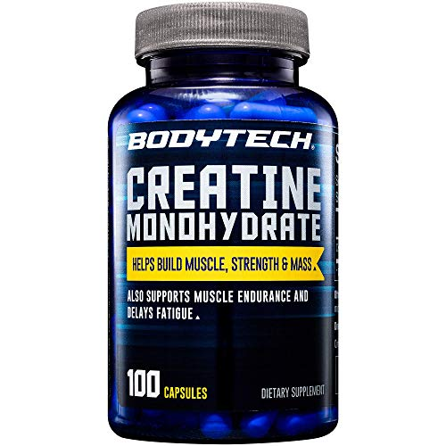 BodyTech 100 Pure Creatine Monohydrate 2250 MG Supports Muscle Strength Mass 33 Servings 100 Capsules