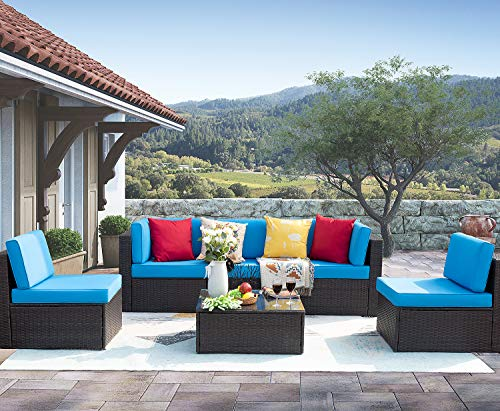 Homall 6 Pieces Patio Outdoor Furniture Low Back All-Weather Rattan Sectional Sofa Manual Weaving Wicker Conversation Set with Coffee Table and Washable Couch Cushions, Blue