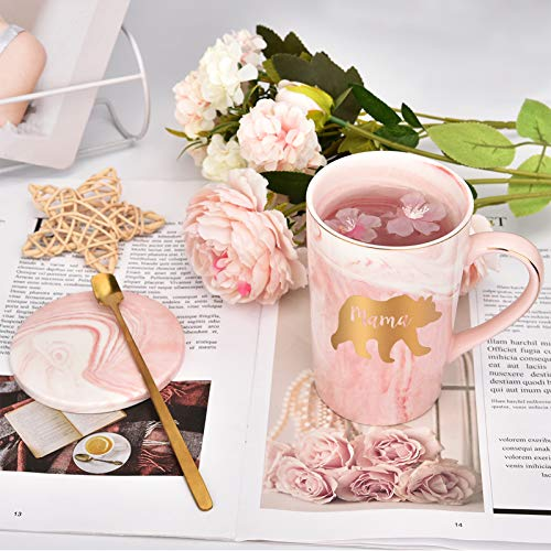 Mama Bear Marble Coffee Mug Bear Mug for Mom Coffee Mug Cup for Women from Daughter Son Best Gift for Mom On Mothers Day Christmas Birthday Marble Coffee Mug with Box, Spoon, Coaster, 14 Oz Pink