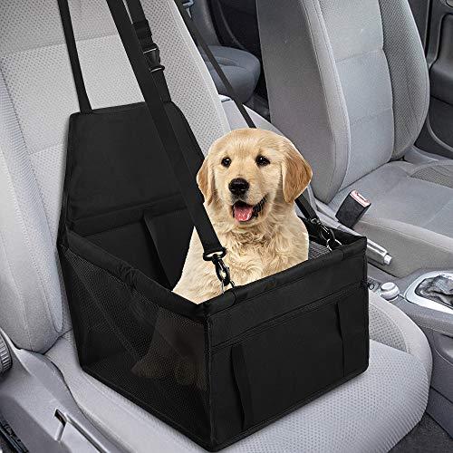 GeeRic Seggiolino Auto per Cane Animali Piccola/Media, Cuscini Rialzati di Cane/Gatto con Guinzaglio di Sicurezza Coprisedile per Cani Trasportabile Pieghevole Sedile di Posteriore 40x30x25CM Nero