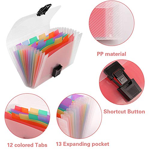 13 Pockets Accordian File Organizer, Geila A6 Size Mini File Folders Expandable Rainbow Accordian File Manager Folder A6 Plastic Wallet for Storage Invoice/Receipt Information/Cards/Coupon Photo #5
