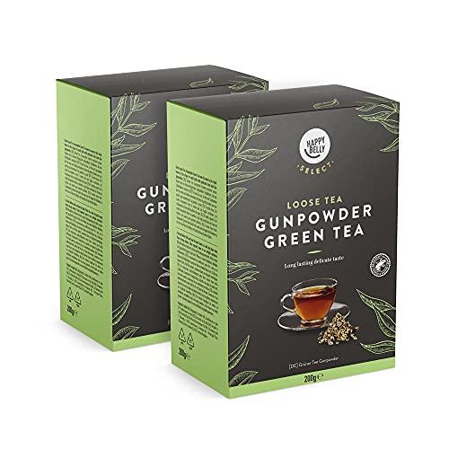 Marchio Amazon - Happy Belly Select, Foglie di tè verde Gunpowder 2 x 200 g - Foglie di tè/tè sfuso
