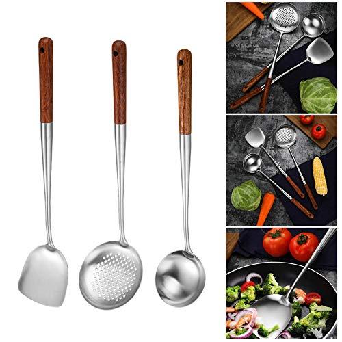 Boji Espátula para wok de acero inoxidable, con mango de madera resistente al calor, cómoda cuchara de diseño, para cocina, 3 piezas