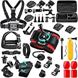 SmilePowo 42-in-1 Accessorries Kit for Hero 9 8 Max 7 6 5 4 3 3+ 2 1 Black Session Fusion Insta360 DJI AKASO APEMAN YI Campark XIAOMI Action Camera Accessories Kit (Red Wrist)