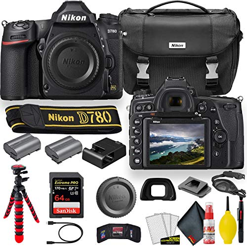 Nikon D780 24.5 MP Full Frame DSLR Camera (1618) - Accessory Bundle - with Sandisk Extreme Pro 64GB Card + Additional ENEL15 Battery + Nikon Case + Cleaning Set + More (Renewed)