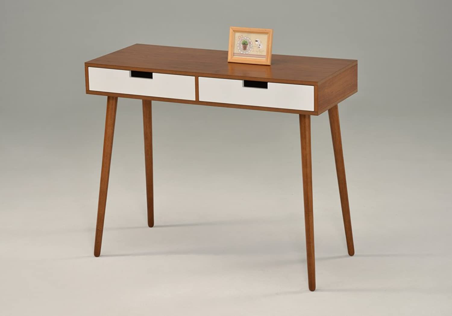 Light Walnut White Console Sofa Table with Two Drawer - Mid-Century style