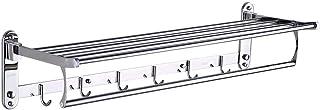 タオル掛け棚浴室の棚 浴室のタオルラックステンレススチール製壁面は、フックと折りたたみタオル棚保管ホルダーをマウント1層40〜50センチメートル HP7-7 (Size : 50cm)