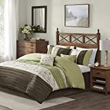 Madison Park Serene Comforter Reversible Solid Faux Silk Floral Flower Embroidered Pleated Stripes Patchwork Soft Down Alternative Hypoallergenic All Season Bedding-Set, King, Green