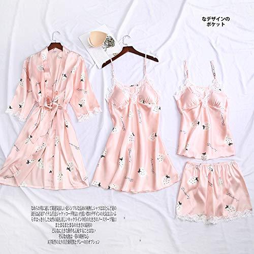 YUHOOE Damen Nachtwäsche Set,4 Pcs Pyjamas Frauen Braut Hochzeit Anzug Sexy Print Blume Nachthemd Nighty & Amp; Robe Anzug Satin Casual Lace Pyjamas Intime Dessous Weiße Erdbeere, XL