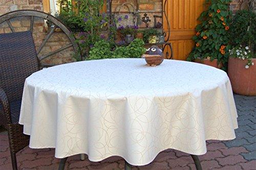 ODERTEX Garten-Tischdecke mit ACRYL Muster, Form und Größe sowie Farbe wählbar Sand-beige Leonardo