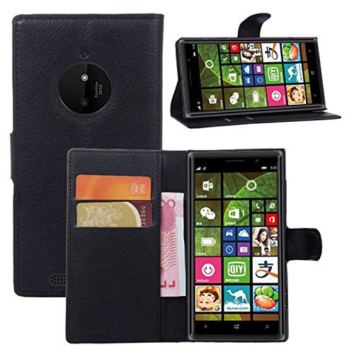 Ycloud Tasche für Nokia Lumia 830 Hülle, PU Ledertasche Flip Cover Wallet Case Handyhülle mit Stand Function Credit Card Slots Bookstyle Purse Design schwarz