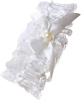 Fashion Accessory – Jarretière en dentelle avec nœud en ruban blanc cassé et perle au centre pour mariage