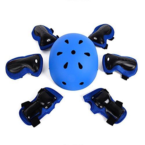 Honey beschermende uitrusting elleboog pols kniebeschermer en helm sport veiligheid beschermingsuitrusting voor kinderen skateboard skateboard skateboard fietsen paardrijden blading [7 stuks set] blauw