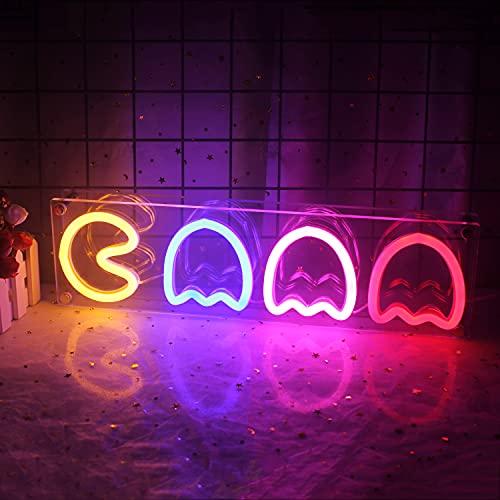 Letrero de neón fantasma LED Ghost luz de neón decoración de pared luz nocturna luz acrílica alimentada por usb para dormitorio bar sala de juegos apartamento Navidad fiesta de regalo (multicolor)